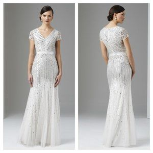 Adrianna Papell Ivory V-neck Cap Sequin Gown 10 14